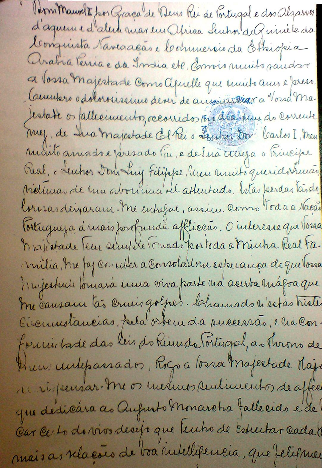 Carta D.Manuel  II ao Rei do Sião Chulangkornorn